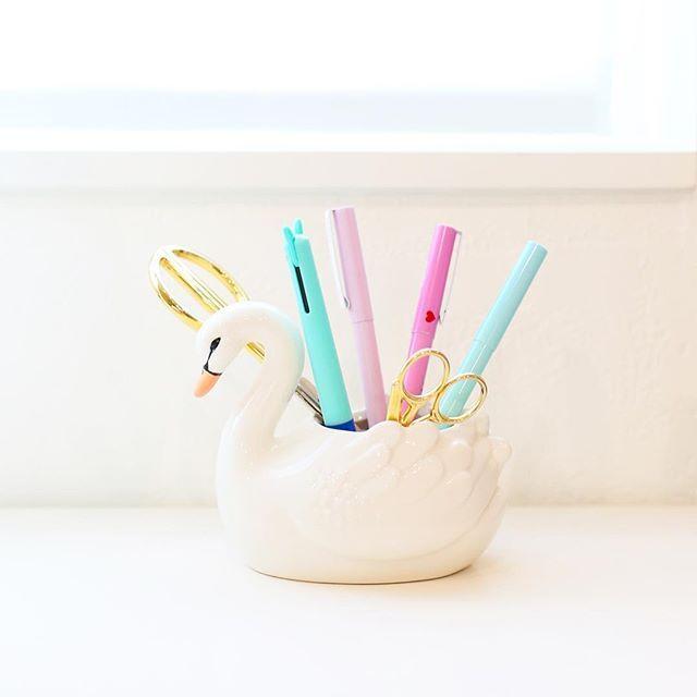 Swan Pen Holder For Pretty Office Supplies Tel Garland Desk Ideas School