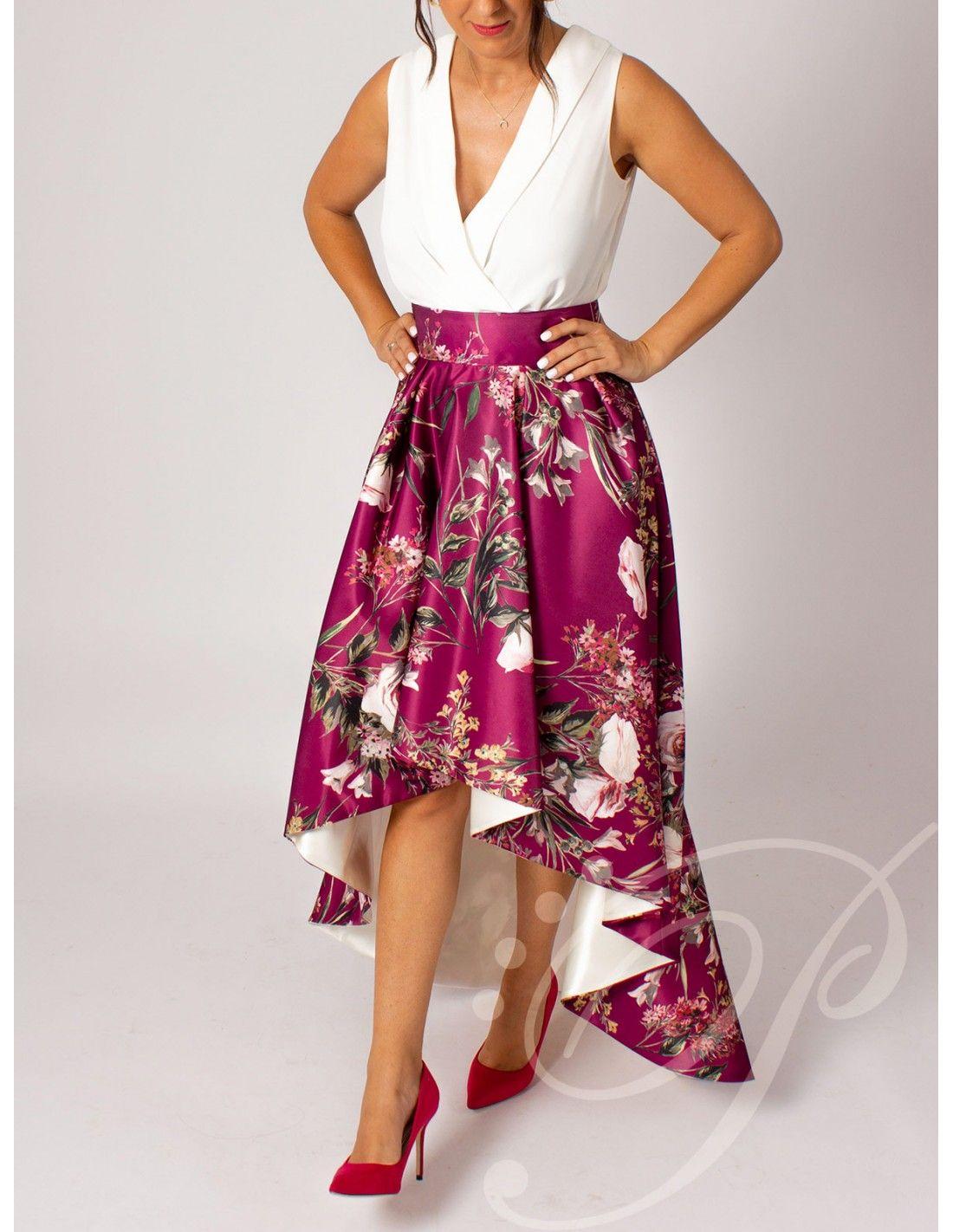 e043c2b70 Falda Anisa - Falda asimétrica en color buganvilla con estampado de ...