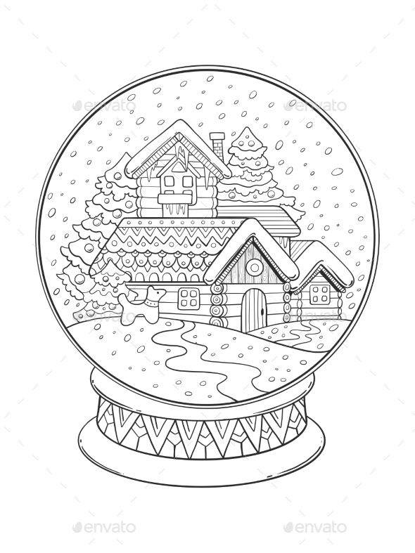 christmas glass sphere cartoon coloring book vector illustration