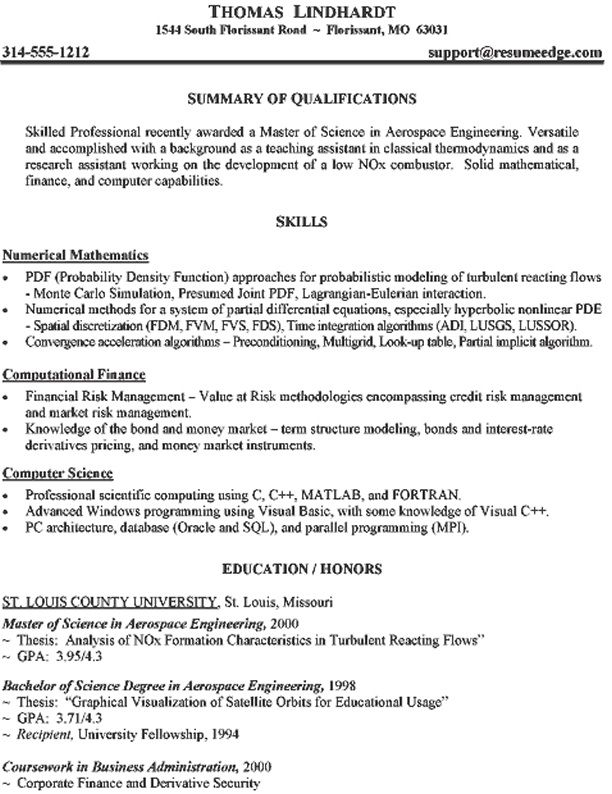 Aeronautical Engineer Resume Example - http\/\/jobresumesample - financial modeling resume
