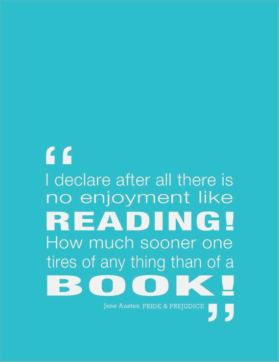 Jane Austen I declare after all there is no enjoyment like reading  -- Digital print 8 1/2 x 11 in - Original design