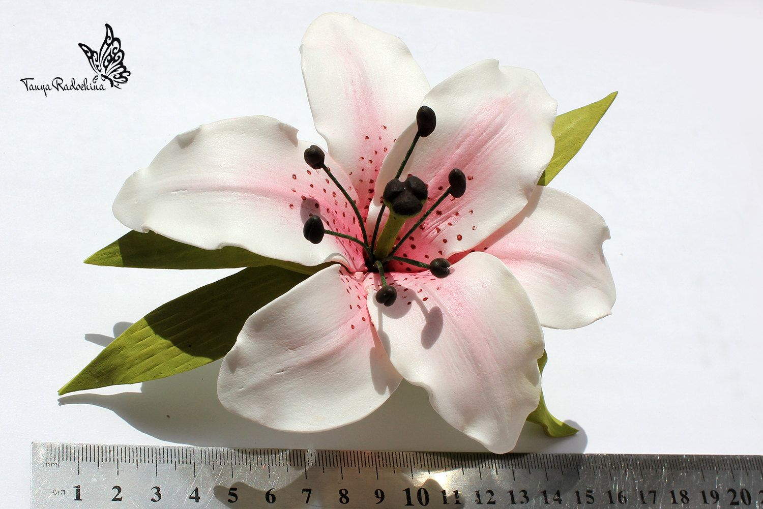 Bridal Lily Hair Clip Flower Wedding White Accessory Rustic Photo Prop Barrette By
