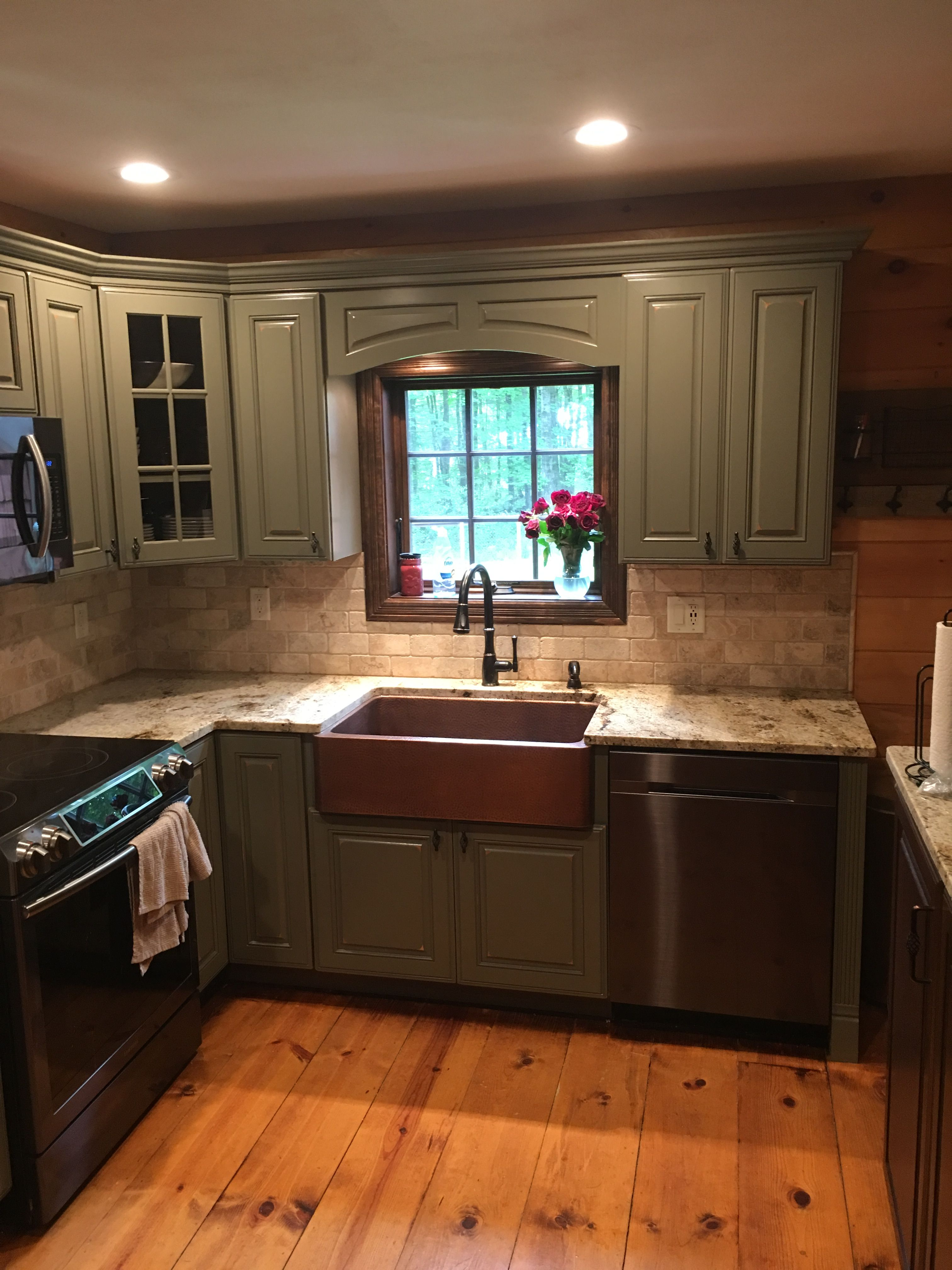 Copper farmhouse sink sage green kraftmaid cabinets kitchen idea