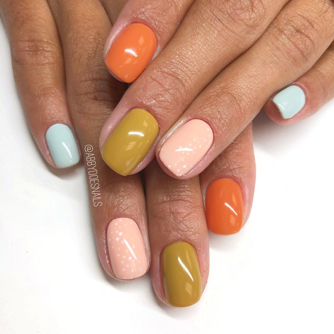I Ve Done Mostly Multicolor Manis For Fall So Far And I M Not Mad About It Handpaintednailart Nailart Fall Gel Nails Fall Nail Designs Shiny Nails Designs