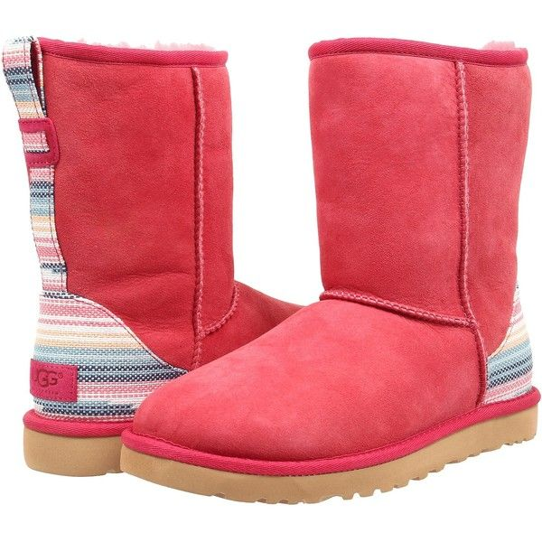 Womens Boots UGG Classic Short Serape Sunset Red Twinface