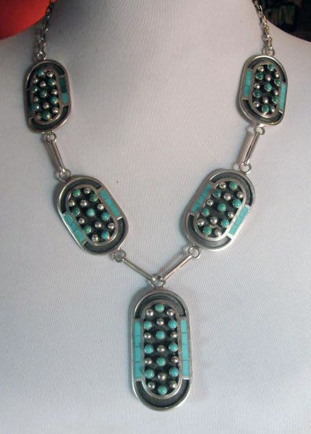 Iconic Vintage JOBETH MAIZE MAYES Zuni Turquoise Sterling Silver Necklace Pawn