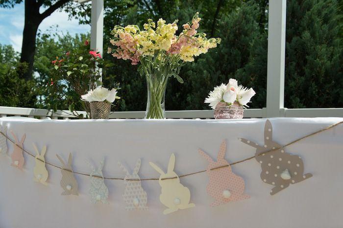 Baby Shower Decor Printables ~ Vintage bunny themed baby shower via karas party ideas