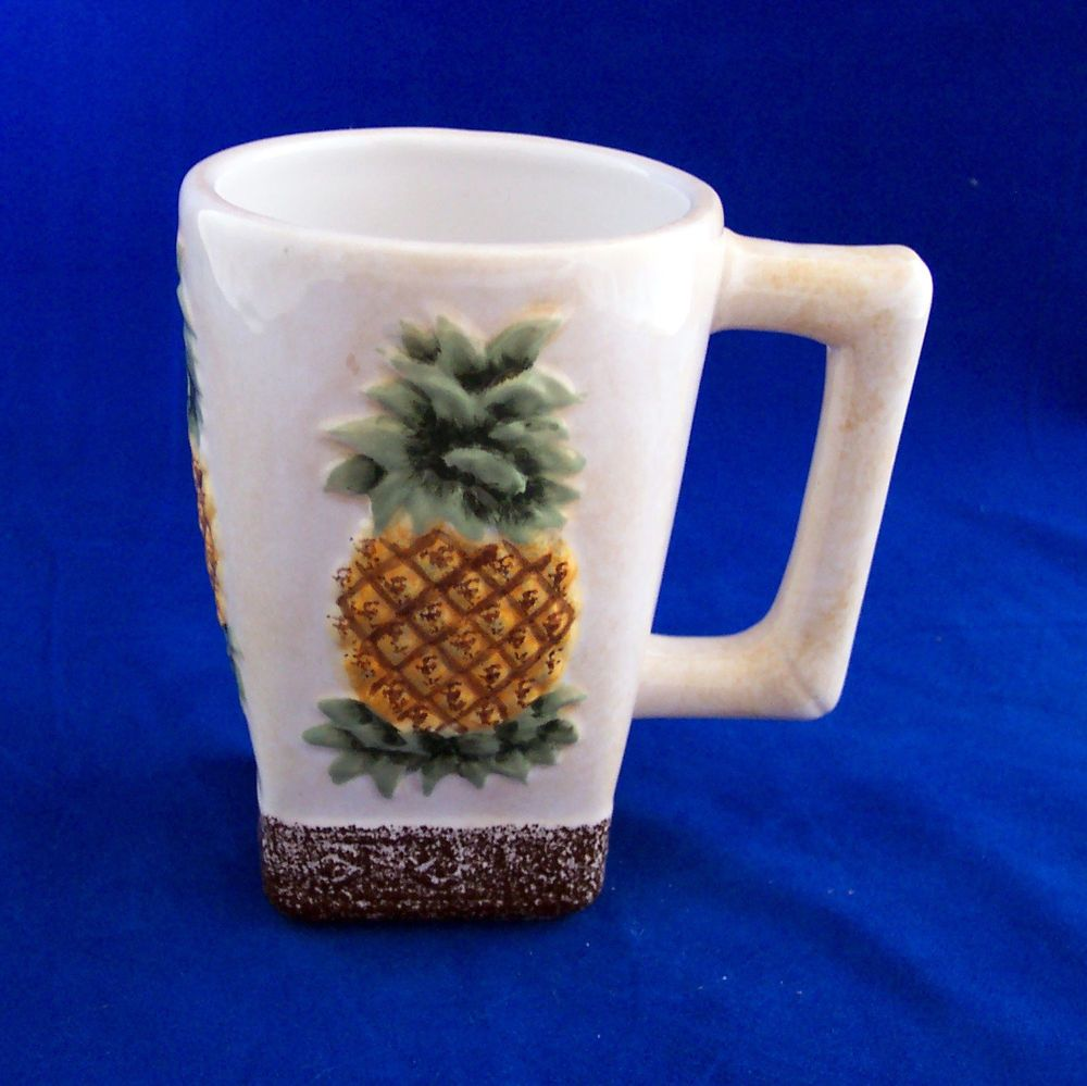 Island Plantations Coffee Mug Handpainted Pineapple Tropical Island Ceramic #IslandPlantations & Island Plantations Coffee Mug Handpainted Pineapple Tropical Island ...