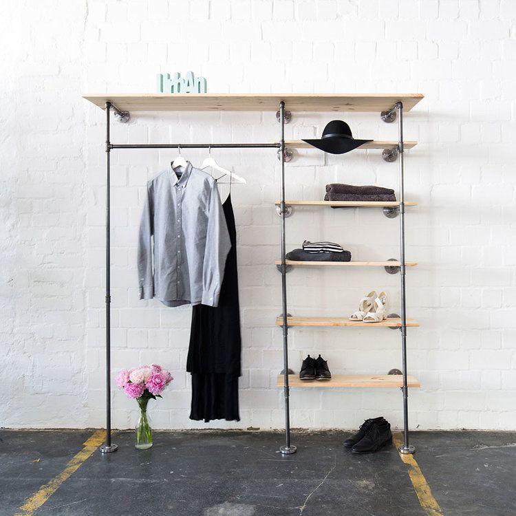 kleiderstange mit regal offener kleiderschrank | Interieur ...