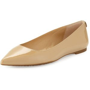 MICHAEL Michael Kors Arianna Patent Pointed-Toe Flat. Nude FlatsPointed ...