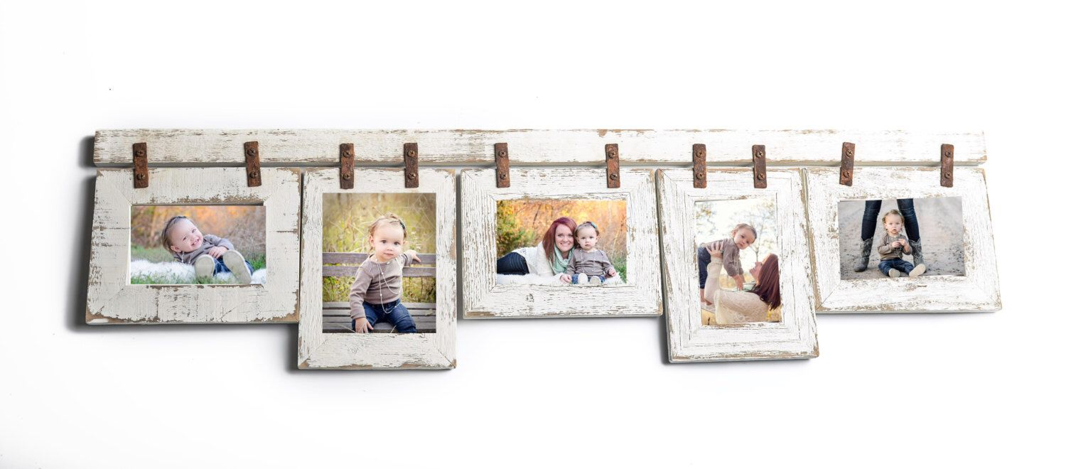 5 Hole 5x7 Picture Frame Collage with Mixed Orientation White Photo ...