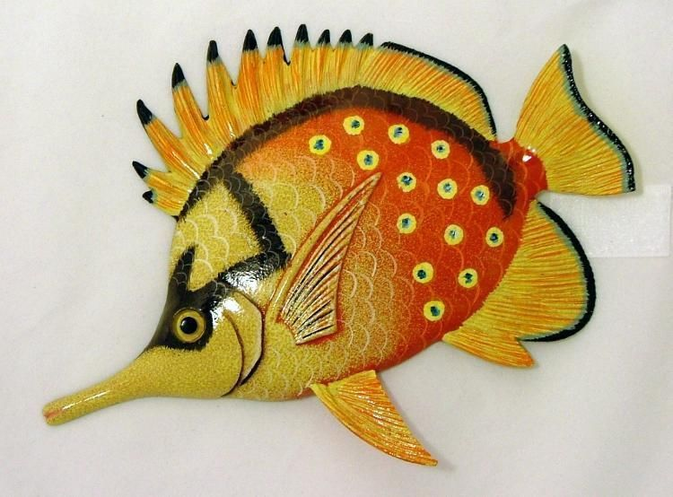 Long Nose Tropical Fish TiKi Sea Life Wall Decor Orange Spotted 8 ...