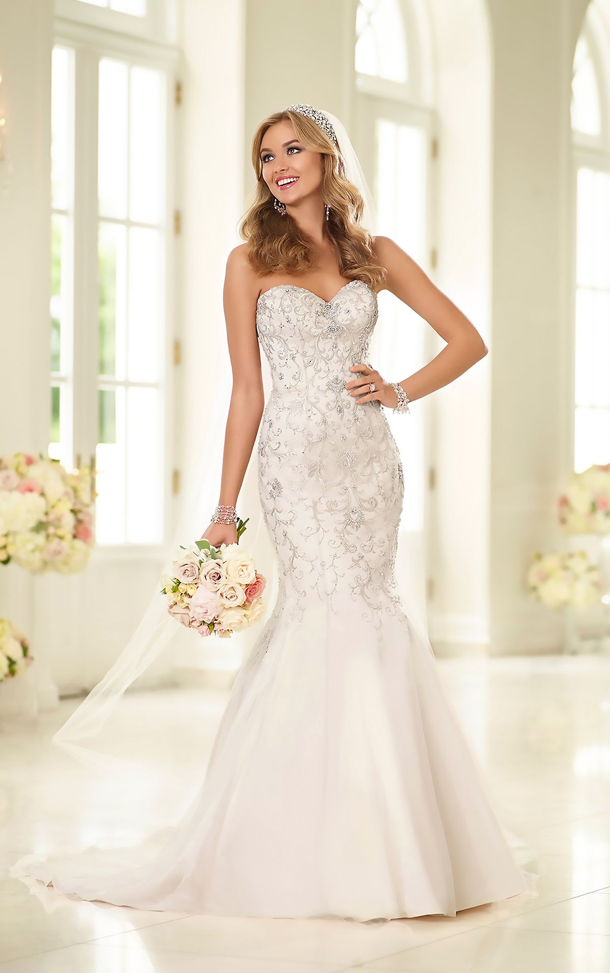 Stella york silver lace wedding dress style 6150