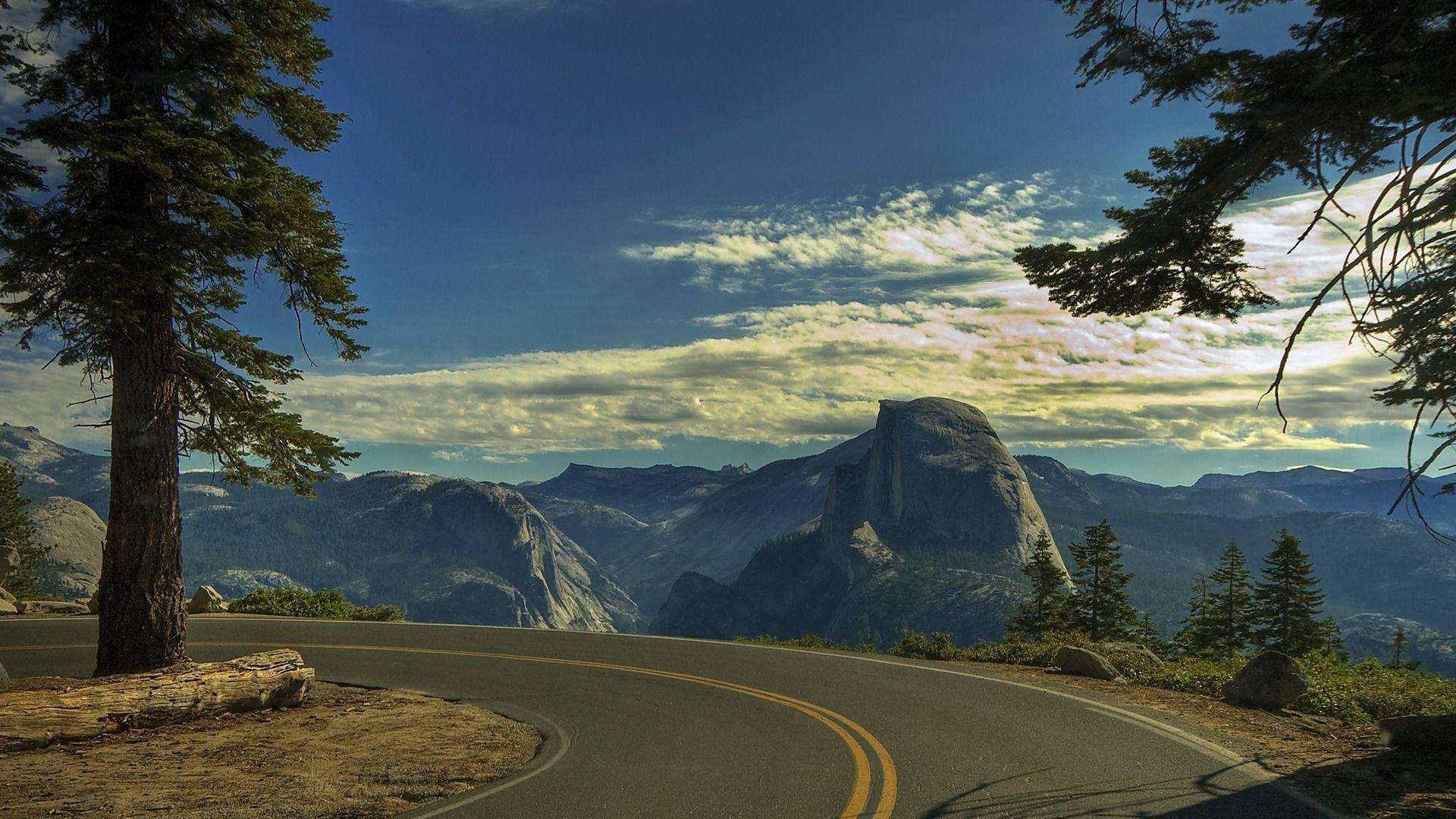 Tremendous Road Turn View 1920 1080 Beautiful Roads National Parks Yosemite Wallpaper Hd wallpaper road turn trees mountain