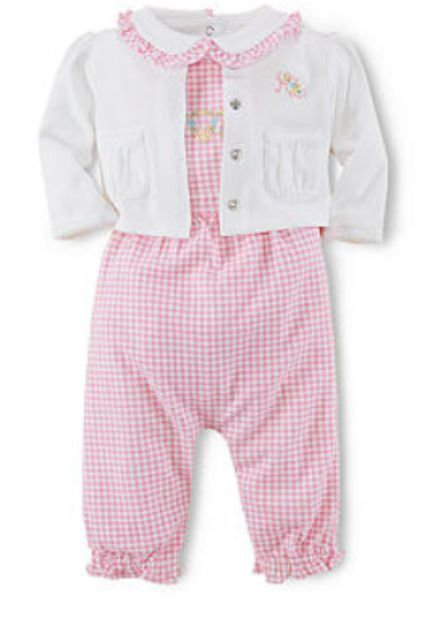 Nwt Baby Girl Ralph Lauren Gingham Coverall 3 Piece Set Size 6