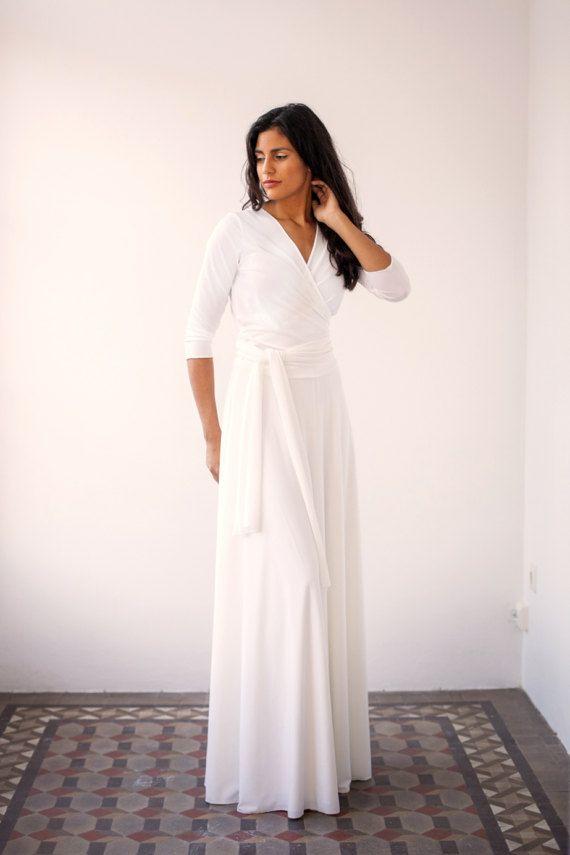 Wedding Wrap Dress Long White
