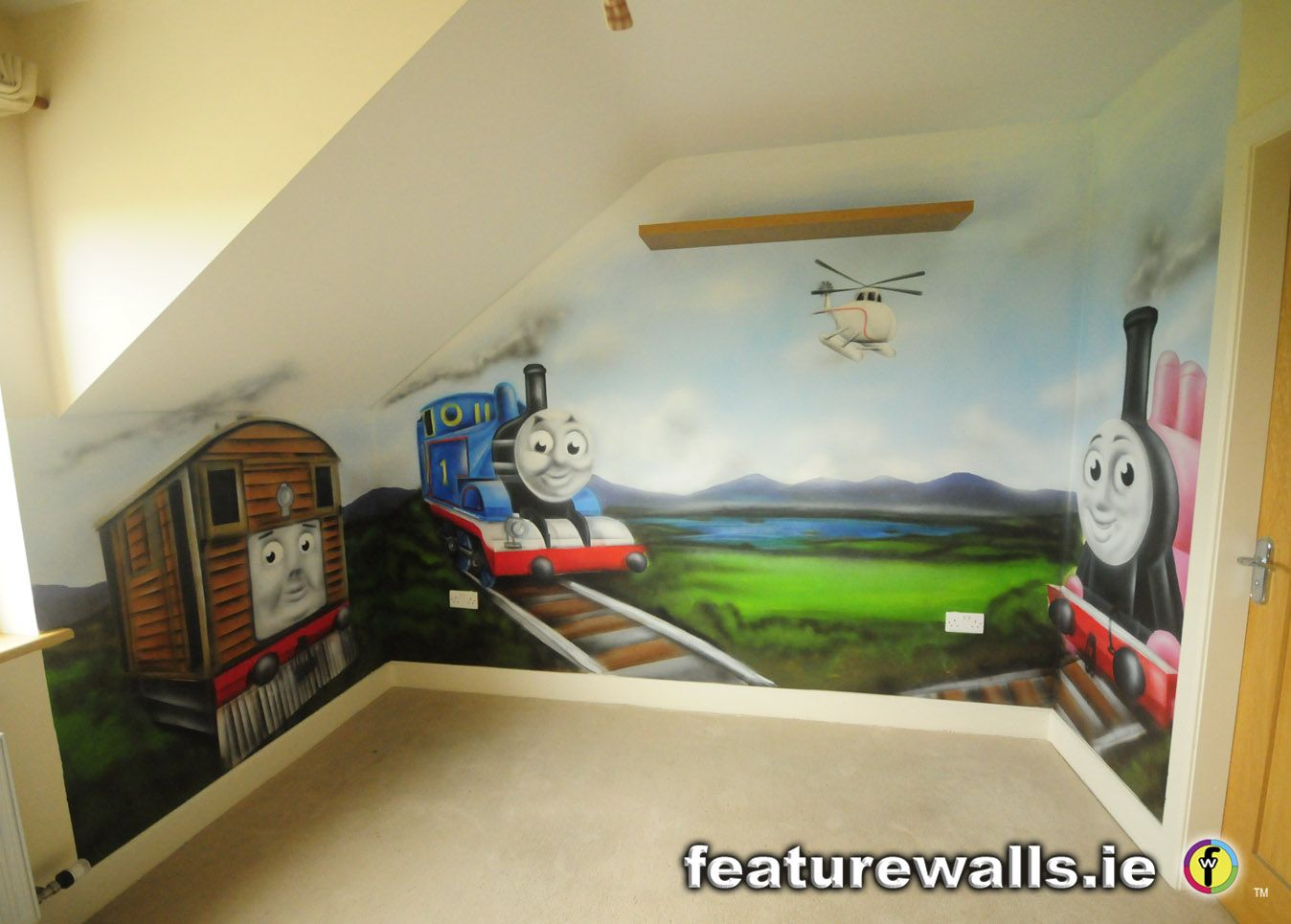 murals for boys room | this hand painted thomas the tank engine ...