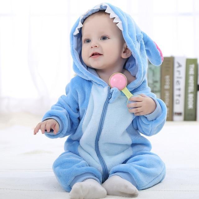 Photo of Animation Cotton Newborn Hooded Romper – blue stitch / 24M