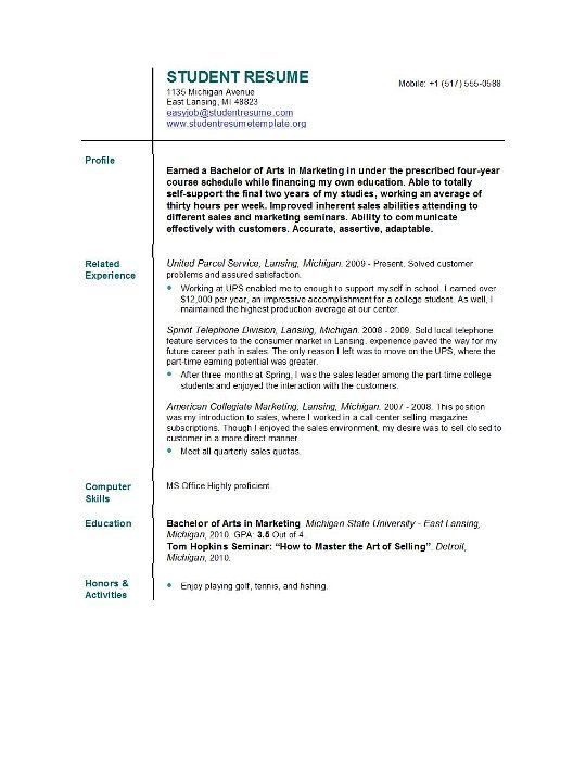 Resumes Templates For College Students Resume Template For College Students  Httpjobresumesample