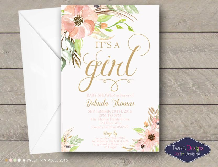 Floral Baby Shower Invitations, Printable Baby Shower Invitations ...