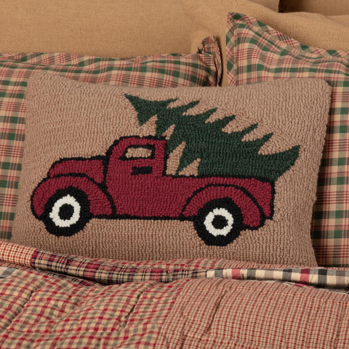Red farmhouse Truck Evergreen Christmas tree Holiday Decor