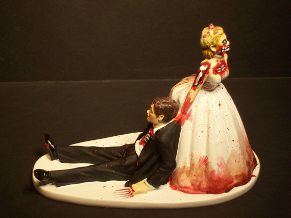 Halloween SALE Zombies Bride And Groom Funny Wedding Cake Topper Scary Horror No Game