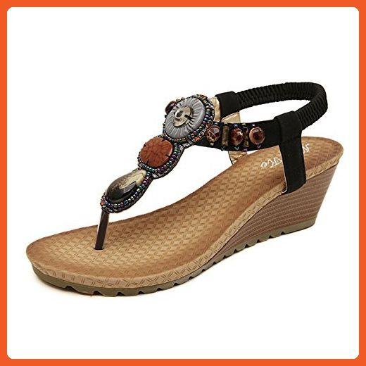 f8f4a506f32 Summerwhisper Women s Retro Bohemian Beaded Wedge Heel Ankle Strap Beach  Thong Sandals Black 8 B(M) US - Sandals for women ( Amazon Partner-Link)