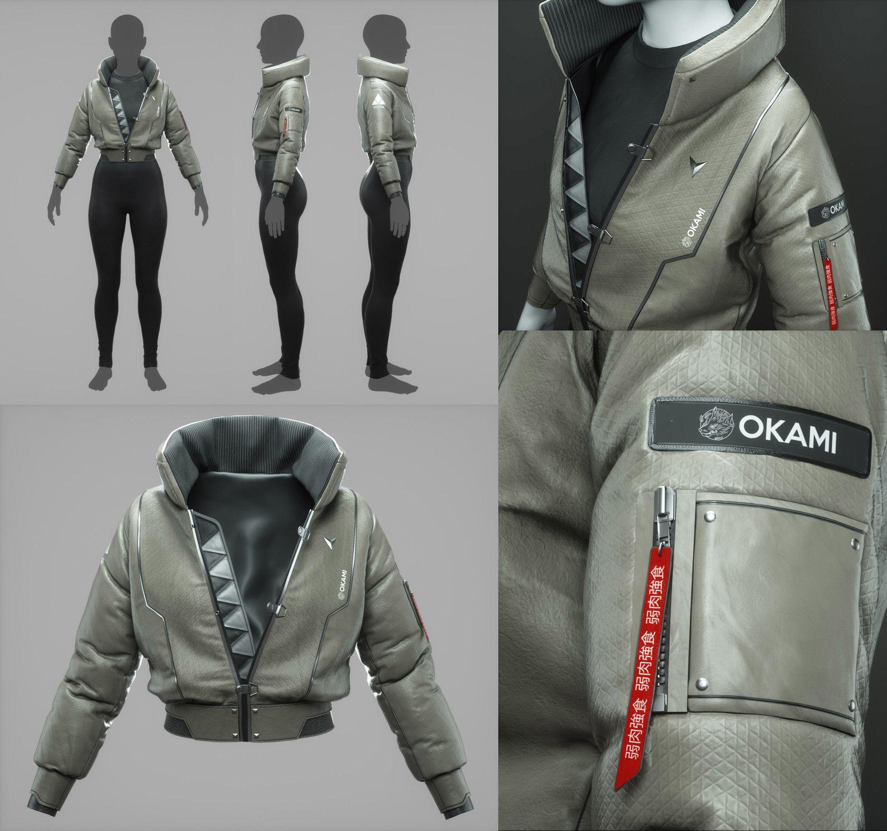 Artstation Cyberpunk Bomber Jacket 3d Fashion Design Course Tutorials Cyberpunk Jacket Cyberpunk Clothes 3d Fashion [ 1687 x 1800 Pixel ]