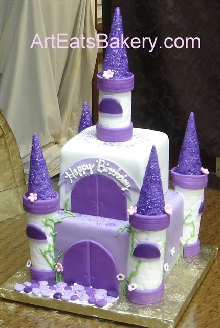 two tier square purple, white and lavender fondant princess castle