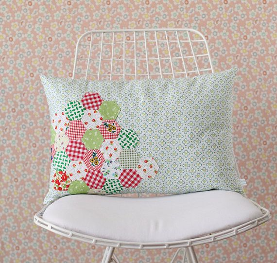 Hexagon Patchwork Applique Pillow Cover for Your Sweet Home or ...