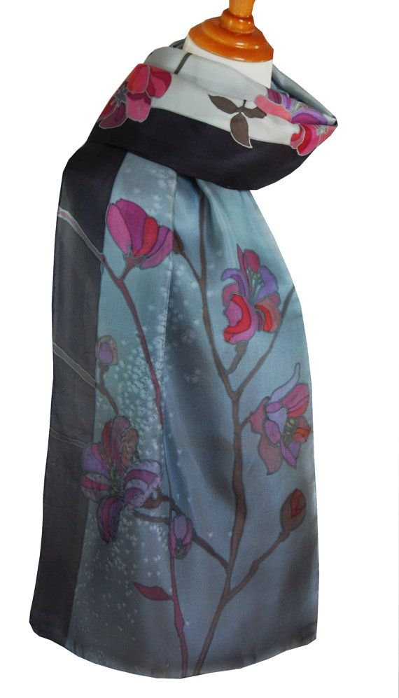 Silk Scarf Hand Painted Cherry Blossom in Gray. Two Shades