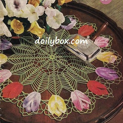 Free Vintage Crochet - Tulip Doily Pattern-- this site has lots of ...