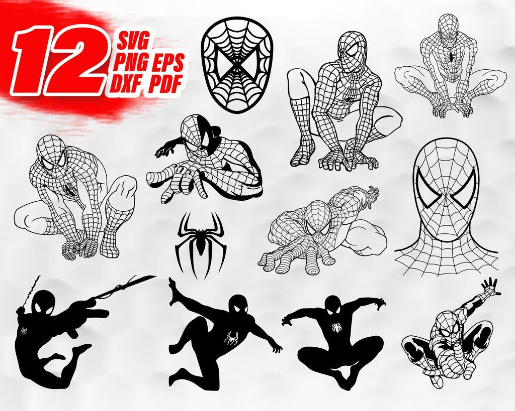 Spider Man svg, Digital Clipart Silhouettes Spiderman