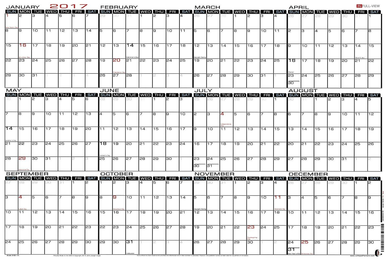 AmazonCom   X  Large Wet Erase  Yearly  Wall Calendar