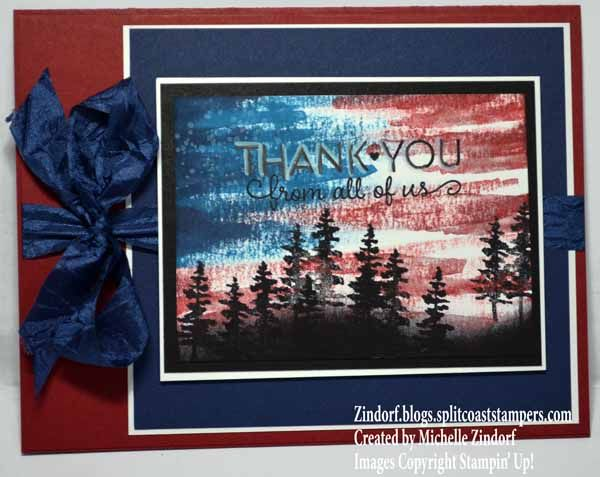 Hand stamped For Those Who Served Stampin' Up! card created by Michelle Zindorf - Waterfront Stamp Set