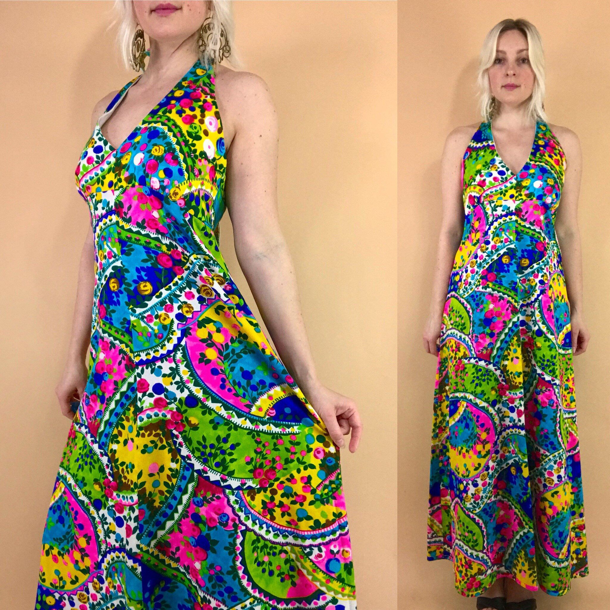 2417dba1dca 1960s psychedelic halter top maxi dress open back neon day glo tropical  swirling floral print full length Hawaiian dress retro 60s 70s gown