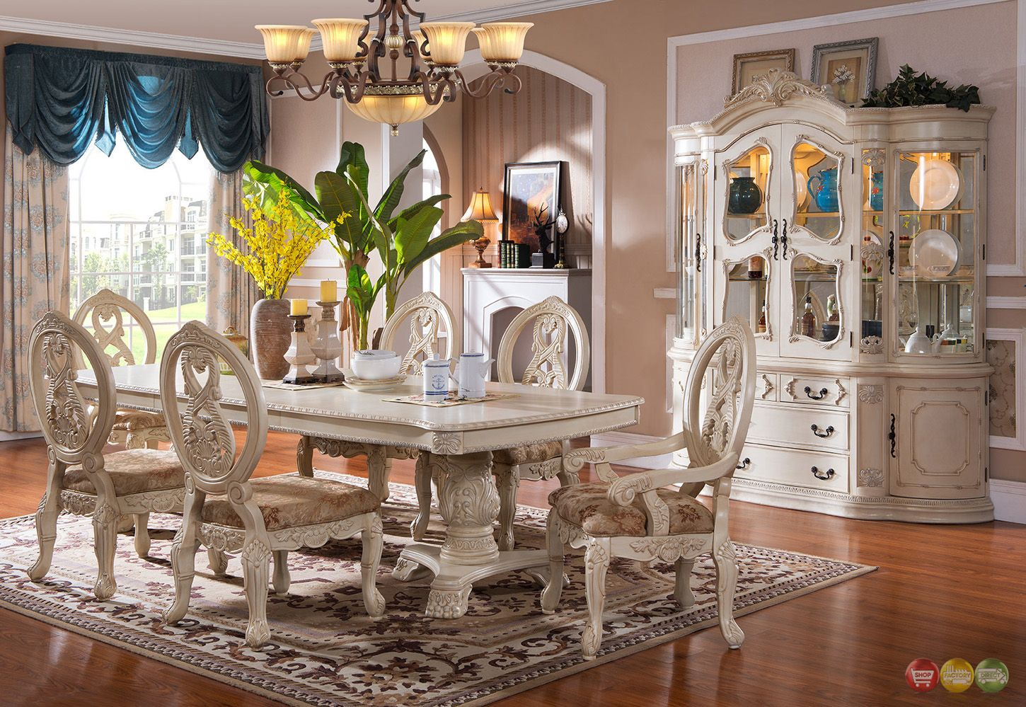 Traditional Antique White Formal Dining Room Furniture Set Carved Woo Traditional Dining Room Furniture Dining Room Furniture Sets Formal Dining Room Furniture