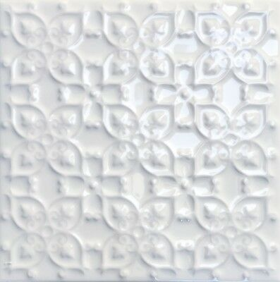 white victorian style raised pattern patchwork marazzi