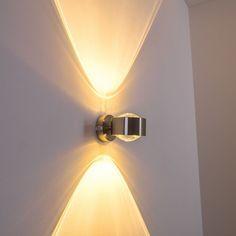 Design Wohn Zimmer Leuchten Kchen Flur Lampe Nickel Wandleuchte Glas UpDown In Mbel Wohnen