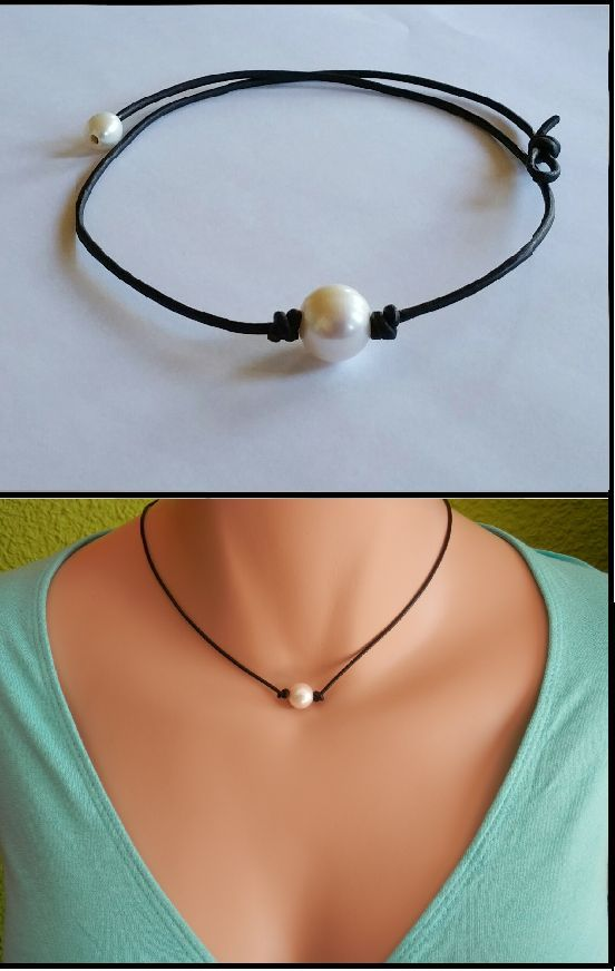 High Quality Freshwater Pearl and Leather Necklace/choker #pearljewelry