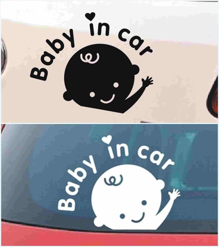 1x Funny Baby In Car Baby On Board Family Car Stickers Window Safety Sign Decals
