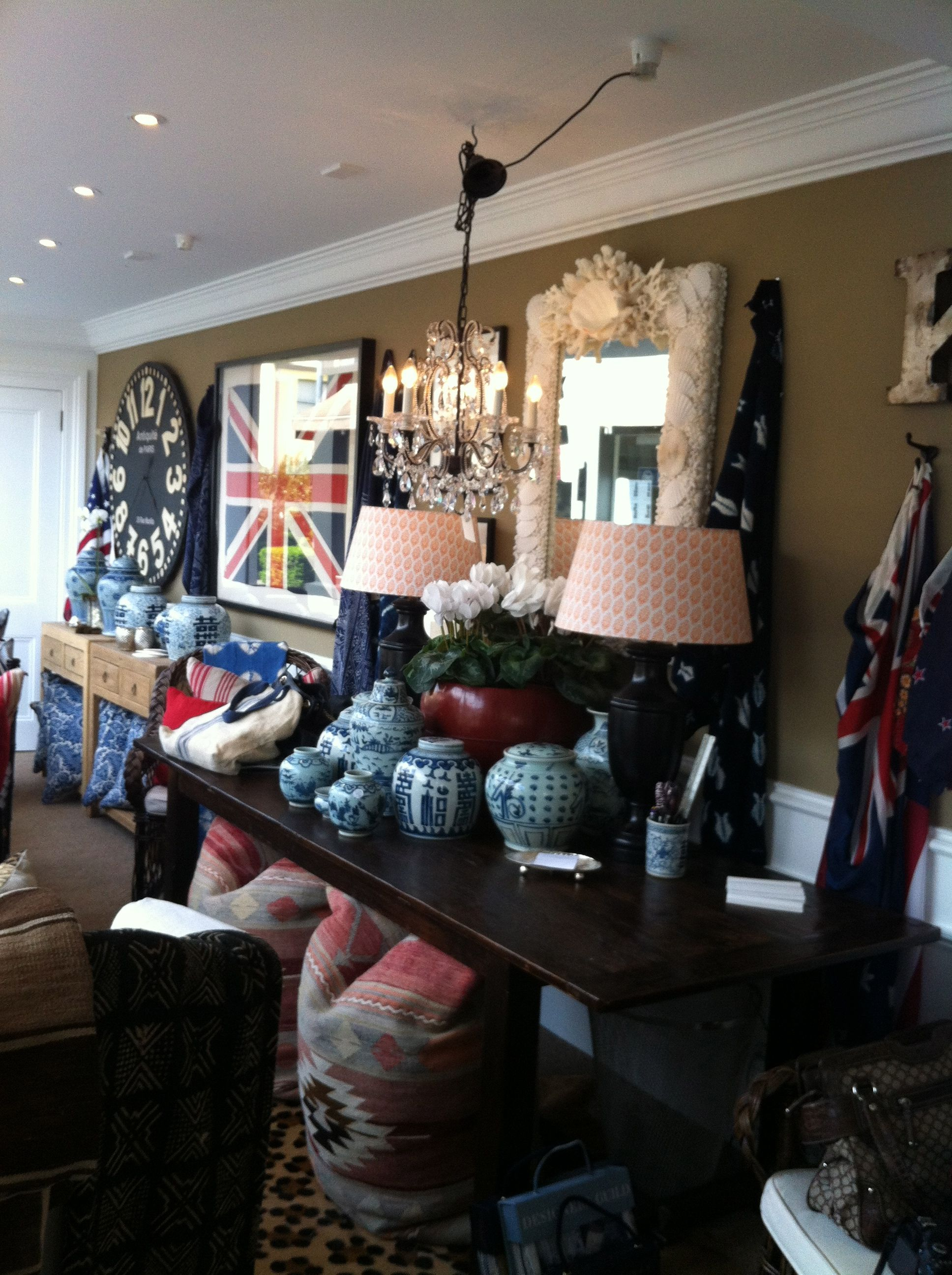 Union Jack Flags, Lots Of Blue & White Ginger Jars,