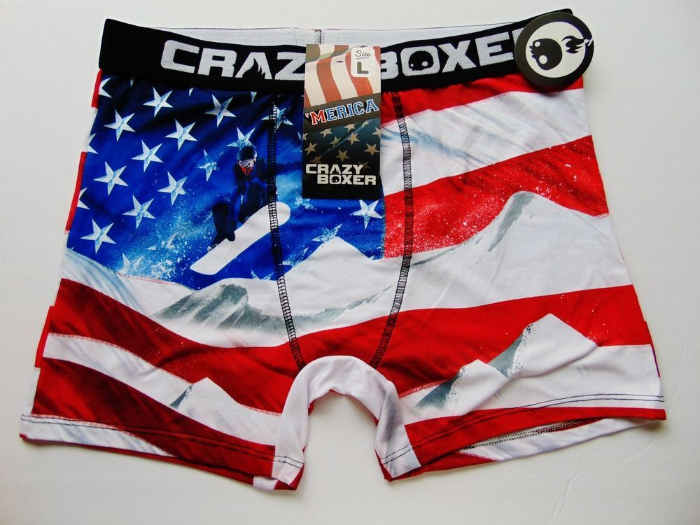 73def7c93dbe New Crazy Boxer Briefs Mens Boxers Underwear Stretch Patriotic USA Size L  Fitted #CrazyBoxer #
