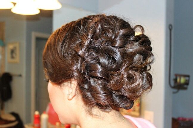 Prom, twisted side, low bun, with curls, side swept bangs
