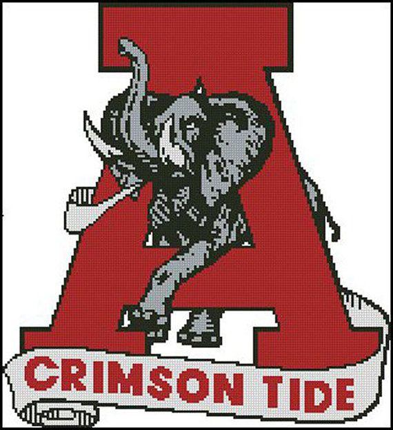 Alabama Crrimson Tide Football Cross Stitch Pattern Look Bama