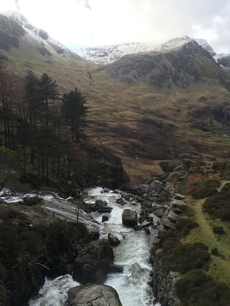 The falls from Llyn Ogwen looking out towards Foel Goch - Snowdonia, Wales by nic0704