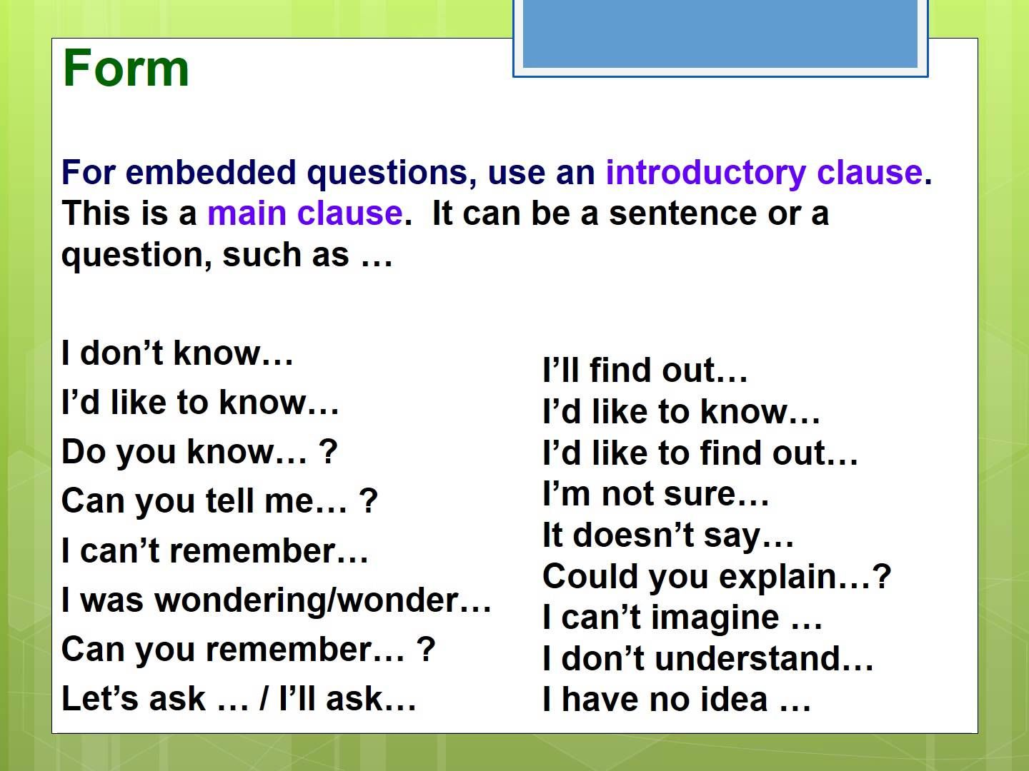 Embedded Questions Presentation