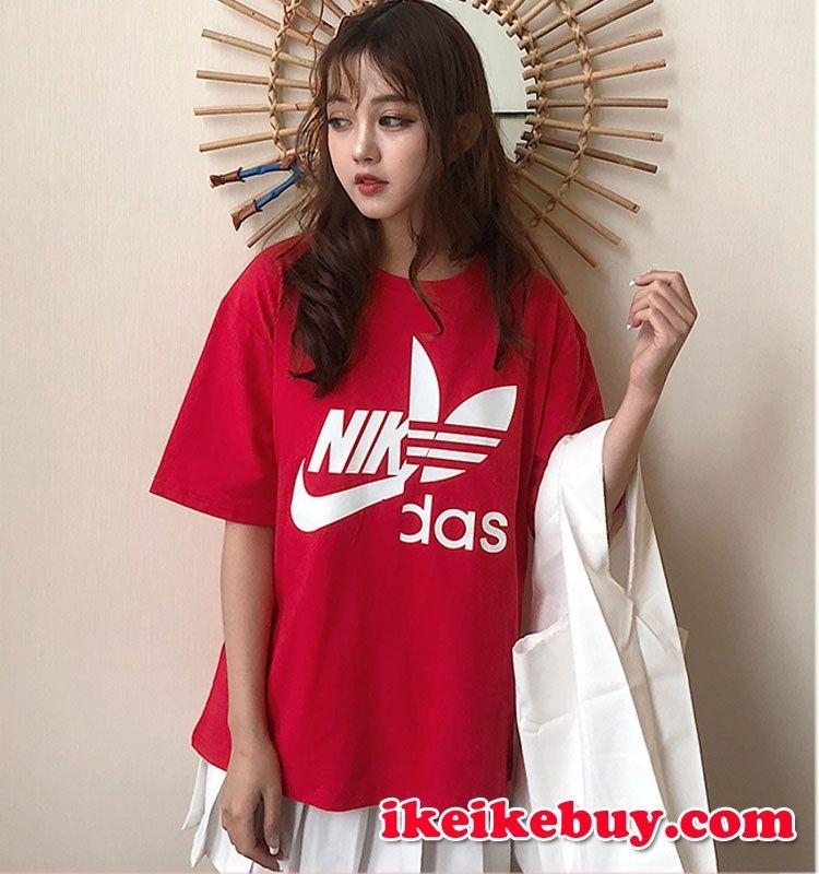 Ins 超ファッションadidas Nikeコラボtシャツ レディースメンズ T