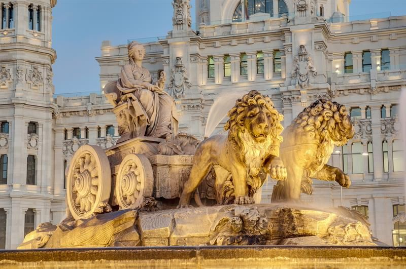 Cibeles Fountain Located Downtown Madrid Spain
