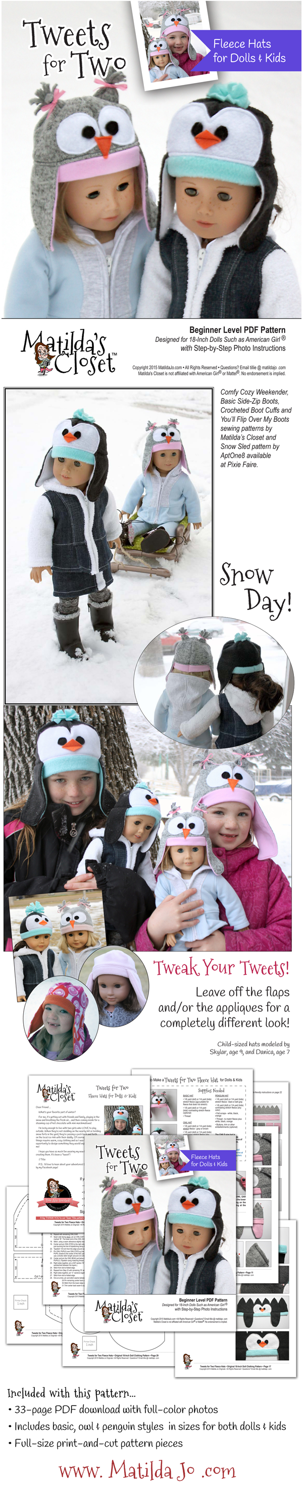 Sew an adorable fleece owl or penguin hat for your 18-inch doll ...